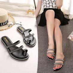 Monde - Embellished Toe Loop Slide Sandals