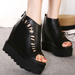 Monde - Cutout Peep Toe Platform Wedge Booties
