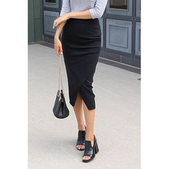migunstyle - Band-Waist Shirred Midi Skirt