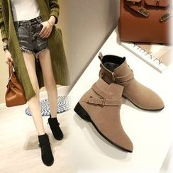 Shoes Galore - Buckled Short Boots