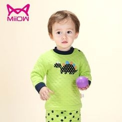 MiiOW - Kids Set: Dinosaur Print Pullover + Polka Dot Pants