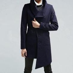 JVR - Wrap-Collar Asymmetric Hem Coat