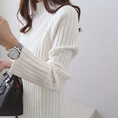 DAILY LOOK - Mock-Neck Ribbed Knit Top
