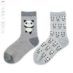 LIFEDIFF - 兩雙一組純棉可愛中筒襪