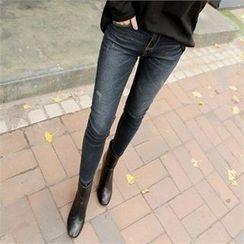 ZIZIBEZIRONG - Band-Waist Washed Skinny Jeans