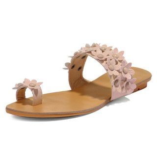 yeswalker - Beaded Flower-Accent Toe Loop Sandals