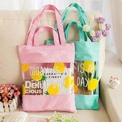 Fancy Mansion - Fruit Print Canvas Shopper Bag
