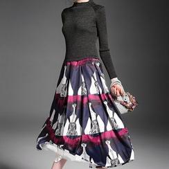 Alaroo - High Neck Long Sleeve Printed Midi Dress