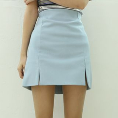 Dodostyle - High-Waist Slit-Hem Skirt
