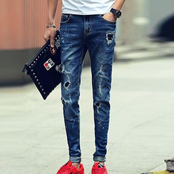 Besto - Distressed Slim Fit Jeans