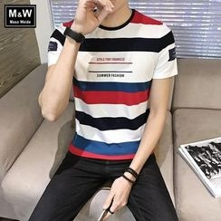 Masowild - Stripe Letter Short-Sleeve T-shirt
