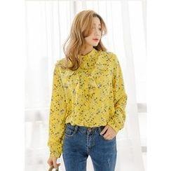J-ANN - Mandarin-Collar Ruffle-Front Floral Blouse