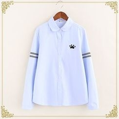 Fairyland - Paw Embroidered Long-Sleeve Shirt