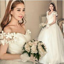 Gracia - Drop-Shoulder Ball Gown Wedding Dress