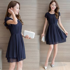 EFO - 短袖打褶襉連衣裙