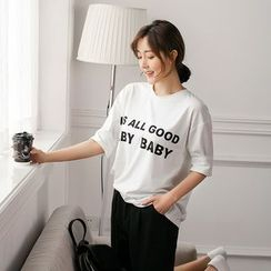 SimplyMe - Elbow-Sleeve Lettering T-Shirt