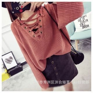 Poppy Love - Lace-Up Chunky Knit Sweater
