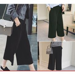 YOSH - Plain Capri Wide-leg Pants