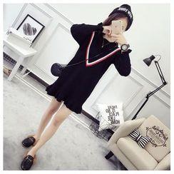 TIMI - Striped Applique Sweater Dress