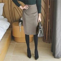 ode' - High-Waist Slit-Back Pencil Skirt
