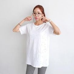 Envy Look - Scoop-Neck Perforated T-Shirt