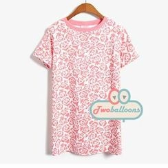 MYHEART - Short-Sleeve Floral T-Shirt
