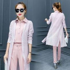 Ashlee - 套装: 长款开衫 + 无袖马球衬衫 + 直筒长裤