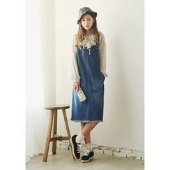 GOROKE - Fray-Hem Washed Denim Jumper Dress
