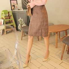 Cherryville - Check Pencil Skirt