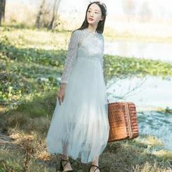 Sens Collection - Set: Lace Panel Long Sleeve Dress + Slipdress