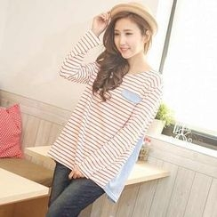 YoungBaby - Long-Sleeve Striped Panel Top