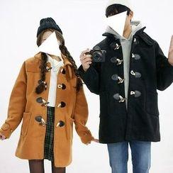 Seoul Homme - Couple Funnel-Neck Duffle Coat