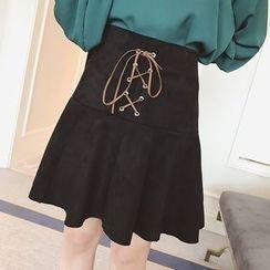 Fifth Season - Lace Up Front Ruffle Hem Mini Skirt