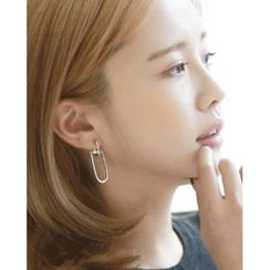 Miss21 Korea - Rhinestone Tiered-Hoop Asymmetric Earrings