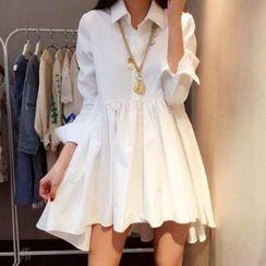 Fashion Street - Plain Long Sleeve Mini Shirtdress