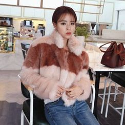 DABAGIRL - Stand-Collar Two-Tone Faux-Fur Jacket