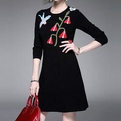 Alaroo - 刺繡連衣A字裙