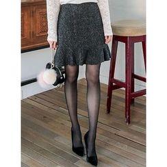 LOLOten - Ruffle-Hem Mélange Mini Skirt