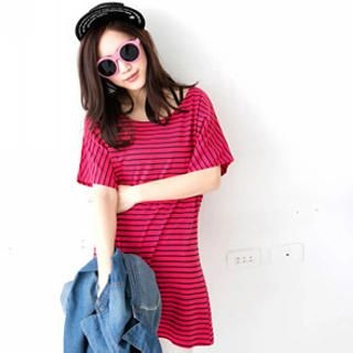 Tokyo Fashion - Short-Sleeve Striped Long T-Shirt