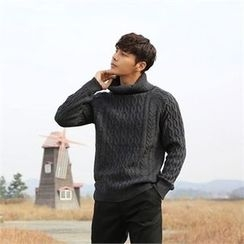 BYMONO - Turtle-Neck Cable-Knit Wool Blend Sweater