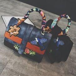 Nautilus Bags - Embroidered Colour Block Shoulder Bag