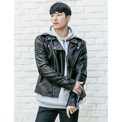 STYLEMAN - Faux-Leather Biker Jacket