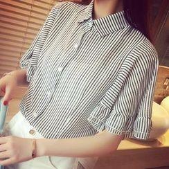 Chika - Ruffle Bell-Sleeve Chiffon Shirt