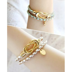 Miss21 Korea - Faux-Leather Metal-Trim Bracelet