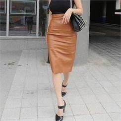 LIPHOP - Chiffon Trim-Back Faux-Leather Pencil Skirt