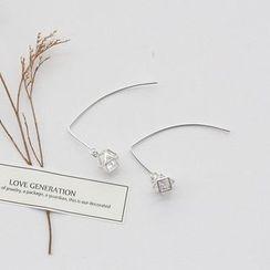 Love Generation - Rhinestone Sterling Silver Threader Earrings