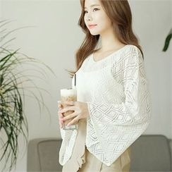 CHICLINE - Eyelet-Pattern Detailed Wide-Sleeve Knit Top