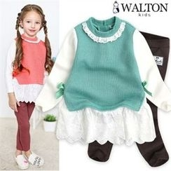 WALTON kids - Girls Set: Beribboned Lace-Hem Top + Leggings