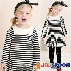 JELISPOON - Girls Pleated-Hem Stripe Dress