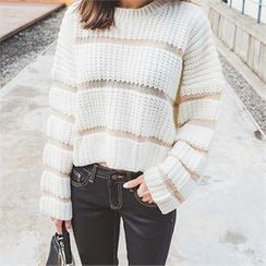 ERANZI - Striped Cropped Knit Top